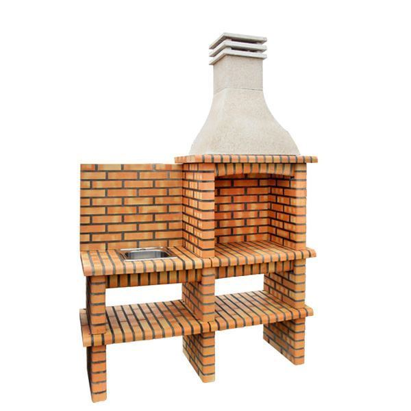 Rustic brick BBQ with sink DIY 209