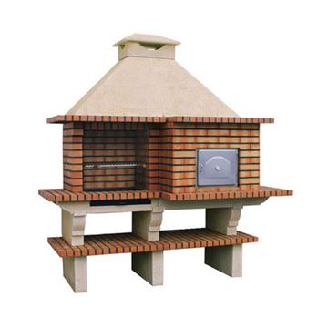 Outdoor kitchen with pizza oven and grill for DIY outdoors