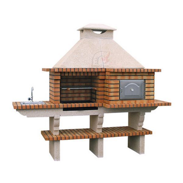 Outdoor kitchen with wood-fired pizza oven, grill, sink for DIY outdoors