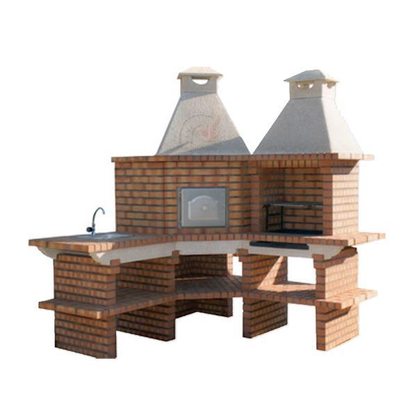 Great Outdoor Kitchen Complete With Pizza Oven: Outdoor Kitchen With Large Pizza Oven, Grill And Sink For