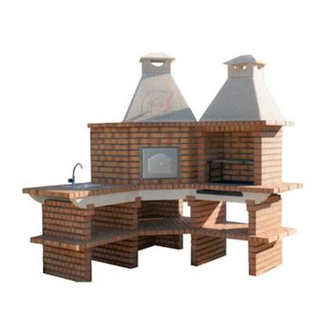 Outdoor Kitchen with large Pizza Oven, Grill and Sink for DIY