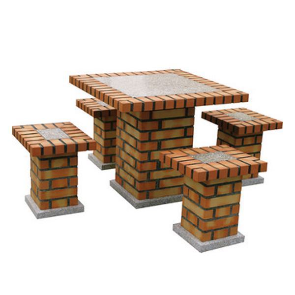 Brick garden table with 4 benches